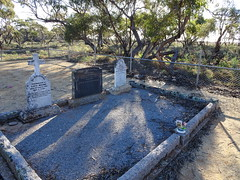 Overland Corner. Graves of the Brand family  who ran the Overland Corner Hotel and the store and Post Office in the 19th century. (denisbin) Tags: overlandcorner rivermurray overlandcornerhotel grave cemetery house postoffice museum courtyard bland fire fireplace