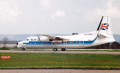 """Air UK G-STAN  Fokker F27 – 200 departure from Runway 05 At Teesside Airport MME England ( now """"Durham Tees Valley Airport"""" ) (thelastvintage) Tags: airuk gstan fokker f27 – 200 departure from runway 05 at teesside airport mme england now durhamteesvalleyairport teessideairport first flew 19 september 1959 ph fay taa australia vhcav air anglia december 1978 uk withdrawn use may 1995 broken up norwich 1996 airanglia"""