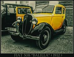 """# Fiat 508  """"Balilla"""" (1932 - 1939) (A.M.G.1969) Tags: 4ruedas amg amg1969 aplicacióndelacámara car clasicos coches amarillo fira fiat españa islasbaleares llucmajor exposicion exposiciones expos"""