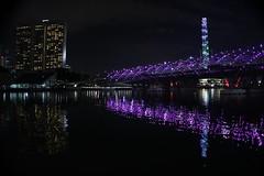 Puente en Singapur (Ro Venditti) Tags: singapur puente bridge lights night luces noches river rio reflection reflejo buildings edificios