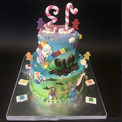 Candy Land Tiered 13th Birthday (Back) (Creative Cakes - Tinley Park) Tags: candyland 13 tiered birthday airbrushed fondant edibleimage boardgames games