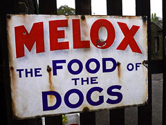'The Food Of The Dogs' (wontolla1 (Septuagenarian)) Tags: keithley worth valley railway oakworth station platform yorkshire yorks sign signs advert advertising old rusty westyorkshire