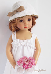 My Abigail is fashioning new outfit.  The set includes 6 pc: dress, hat, bolero, shoes, headband, gloves. (Maria Kłopotowska) Tags: dress littledarling effner white hat crochet shoes