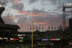 Cotton Candy Clouds over Seattle (hj_west) Tags: baseball philadelphiaphillies seattlemariners safecofield mlb interleague stadium night sports pink cloud sky seattle