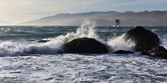 Splashing|Mile Rock Beach, San Francisco (miltonsun) Tags: splashing milerockbeach sanfrancisco seascape bay ngc bayarea wave ocean shore seaside coast california westcoast pacificocean landscape outdoor clouds sky water rocks mountains rollinghills sea sand beach cliff nature