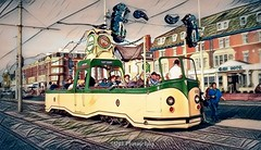 Vintage Transport (Rollingstone1) Tags: tram blackpool england openboattram heritage vintage city transport prototype englishelectric yellow green vivid colour colourful buildings people art artwork illuminations shockofthenew