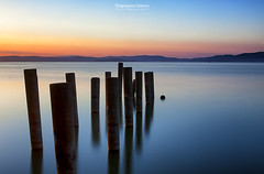 Dawn at lake Trasimeno (Agrippino Salerno) Tags: italy umbria lake trasimeno laketrasimeno bluehour blue dawn sunrise travel castigliondellago agrippinosalerno canon manfrotto colors landscape seascape jetty sky