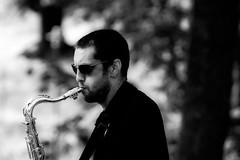 Saxophone man (andersåkerblom) Tags: potrait profile blackandwhite monochrome saxophoneplayer saxophone musician music