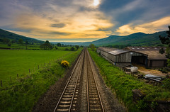 waiting for the train that never comes (Phil-Gregory) Tags: nikon d7200 edale railway tokina 1120mm 1120mmf28 light lines tracks field fly colour pov dof peakdistrict peace perspective scenicsnotjustlandscapes green color empty lone quiet