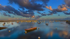 Good night..Or Good morning my Friends! (Marie.L.Manzor) Tags: ocean sea sunset sun boat clouds sky reflection seascape nature nikon d610 nikkor marielmanzor 1000favs 1000favorites