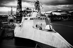 our modern navy (Ben McLeod) Tags: blackandwhite fleetweek oregon portland rosefestival steelbridge ussjackson usnavy willametteriver city river
