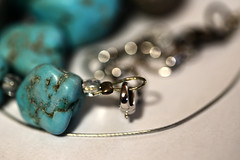 Broken (Ptolemy the Cat) Tags: macromondays broken necklet jewellery jewelry turquoise beads nikond600 tamronf2890mmmacrolens