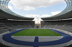 "Inside the Olympic stadium in Berlin, the home arena of the football club ""Hertha"" and the German national team (iliya.hazan) Tags: berlin germany europe city path grass olympic arena football club hertha national team sport game sky"