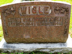 Wigle, Arthur 1852 - 1940 (Hear and Their) Tags: fraternal grave stones markers oddfellows masonic mason freemason kingsville ontario greenhill cemetery