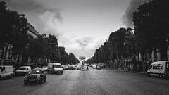 Champs-Elysées (Mars_Who) Tags: morning city people street travel urban tree road black white monochrome paris panoramic vehicle outdoors horizontal arc champs triomphe champsélysées élysées transportation system
