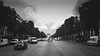 Champs-Elysées (Mars_Who) Tags: morning city people street travel urban tree road black white monochrome paris panoramic vehicle outdoors horizontal arc champs triomphe champsélysées élysées transportation system