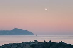 Under a full moon (FButzi) Tags: genova genoa vernazzola liguria italy italia sea seascape moon sunset boat