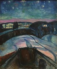 Edvard Munch, Starry Night, 1922-24, Oil on canvas, SFMOMA (Sharon Mollerus) Tags: edvardmunchbetweentheclockandthebedexhibit sanfrancisco california unitedstates us cfpti17