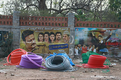 Coils of Pipes - Bangalore Karnataka India (WanderingPhotosPJB) Tags: flickruploaded img india karnataka bangalore street pavement roadworks pipe coils multicoloured