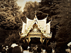 golden pagoda in Ueno zoo (Ola 竜) Tags: uenozoo japanese zoo sepia golden architecture oriental pagoda roof metallic gold orient people ueno tokyo japan candid monochrome monotone trees shrine