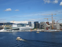 Oslo Harbor - from the Opera House to the Barcode Project (cohodas208c) Tags: oslo harbor constructioncranes underconstruction operaen operahouse barcodeproject bjørvika