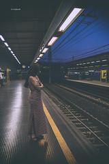 In Attesa (Emanuele Stifanelli) Tags: metro underground subway woman evening night cute treno train campania chiaiano chiaianostation stiflele southitaly napoli naples emanuelestifanelli europe italy nikon nikond3200 nikkor