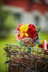 Origami Bouquet (flashfix) Tags: june212017 2017inphotos ottawa ontario canada canon canoneos5dmarkii 5dmarkii bokeh nature mothernature 100mm wedding bouquet origami roses lily paper handmade origamibyscott green red basket ottawaweddingchapel