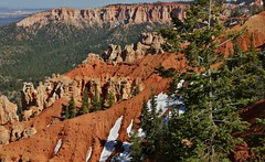 View From Bryce Canyon National Park (Susan Roehl) Tags: nationalparkstour2017 brycecanyonnationalpark southwesternutah paunsauguntplateau rockformations uniquegeology settledbymormons ebenezerbryce 35835acres highestelevation9000feet sueroehl panasonic lumixdmcgh4 100400mmlens handheld outdoors cliff landscape ridge trail