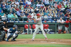 Aaron Altherr hitting (hj_west) Tags: baseball philadelphiaphillies seattlemariners safecofield mlb interleague stadium night sports