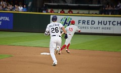 Danny Valencia doubles (hj_west) Tags: baseball philadelphiaphillies seattlemariners safecofield mlb interleague stadium night sports