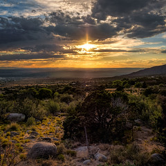 Sandia Sunset (Ed Rosack) Tags: desert rock albuquerque vacation landscape sunset travel cloud valley usa sky sunbeam panorama newmexico sandiapeaktramway mountain cloudy dusk