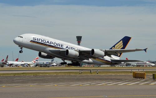 9V-SKD Departing Heathrow