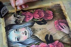 Emilia - WIP (The Girl with the Flaxen Hair) Tags: natidraws illustration mixedmedia mangaart traditionalart gothicart macabreart deathandthemaiden watercolor ink painting workinprogress artistsonflickr animemanga victorianage victorian etsy etsyshop etsyseller skull ghosts surreal