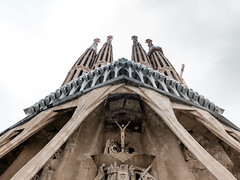 Sagrada Familia (color version) (ep_jhu) Tags: construction exterior x100f pano spain barcelona towers gaudi underconstruction fuji columns crucifixion panorama fujifilm españa sagradafamiila catalunya es