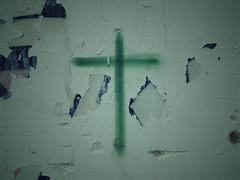 The decay of inaction (ARWoollock) Tags: cross green wall abandonment dalian china 大連 中国