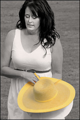 (Cliff Michaels) Tags: nikon photoshop pse9 woman portrait bw black white hat
