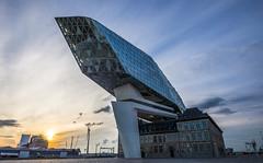 Zaha Hadid's Antwerp Port House (NOAC_) Tags: architecture architectural zahahadid antwerp antwerpen belgium belgique belgië europe european design architect city urban modern futuristic modernist glass classical pentaxk5iis sigma1020mmf35 sunset dusk dawn twilight sky skies yellow blue