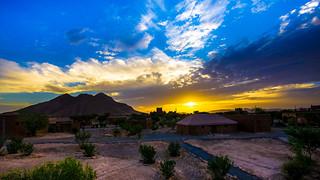 Sahara camp sunset, Icht, Morocco, 20150923