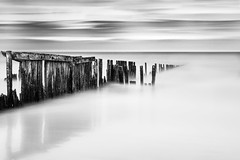The gardians (The Black Fury) Tags: abandonned broken breakwater seascape sea coast longexposure blackandwhite monochrome water beach normandie minimal wood filter nd1000