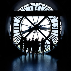 Turn Back Time (Square Photography UK) Tags: robhall squarephotography clock silhouette people noir square time paris