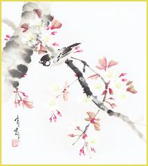 Cherry and great tit (Japanese Flower and Bird Art) Tags: flower cherry prunus rosaceae bird great tit parus major paridae yukyo aizu nihonga shikishi japan japanese art readercollection