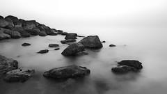 Keep Kalm (|MBS-..|) Tags: nokia lumia 1020 lumia1020 mobile photography seascape rock cloudy haze monochrome warer beach coast sea landscape water