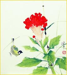 Cockscomb and great tit (Japanese Flower and Bird Art) Tags: flower cockscomb celosia cristata amaranthaceae bird great tit parus major paridae keishu aizu nihonga shikishi japan japanese art readercollection