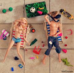 Summertime (violetcazador) Tags: dolls toys barbie ken funny subversive summertime messy drunk passedout sunshine booze