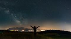 The Milky Way, Saturn, Jupiter ... and me (escapevelocity-ch) Tags: hicham dennaoui escape velocity escapevelocitych nightscape switzerland suisse paysage nocturne étoiles stars lac léman lake geneva photo milky way voie lactée saturne saturn vaud lausanne jupiter core romandie