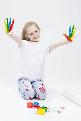 Kids Concepts and Ideas. Portrait of Funny Young Girl Showing Messy Colorful Hands Brightly Painted During Paint Craft. Against White Background. (DmitryMorgan) Tags: 1 711years active againstwhite artist artistic arty caucasian cheerful child childhood color colorful colour concept craft creative creativity daughter drawing education female fingers fun gouache hand happy kid little messy multicolor one paint painter palms people playful pleasure positive preschooler smiling tshirt young