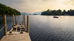 Derwent daydream - Lake District National Park, England (alejandro.romangonzalez) Tags: derwent lake water pier landscape sunset boat relax outdoors lakedistrict nationalpark england uk canon canon6d ducks mountains keswick