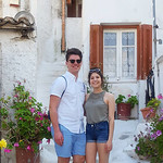 Honors students Jacob Staub and Danielle Grady pose in a white alley in Athens, Greece.