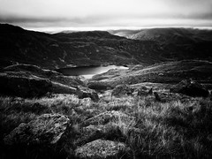 Above Easdale Tarn. (~Ventnor~) Tags: uk english england park national cumbrian fells fell walking snapseed bnw mono landscape photography iphone tarn easdale cumbria lakedistrict lake