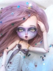 Bjd from Leekeworld face up :3 l'v'l up! (somehowcameout) Tags: techniques wig eyes repaint eyelashes custom cute purple girl violet pink ooak ooakdoll somehowcameout doll colours pastel progress jointed handmade face faceup spring sweet carmazine carmazin galaxy bald bjd leekeworld leeke world stars